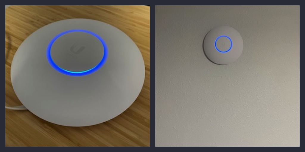 Unifi WiFi access point on desk and on wall