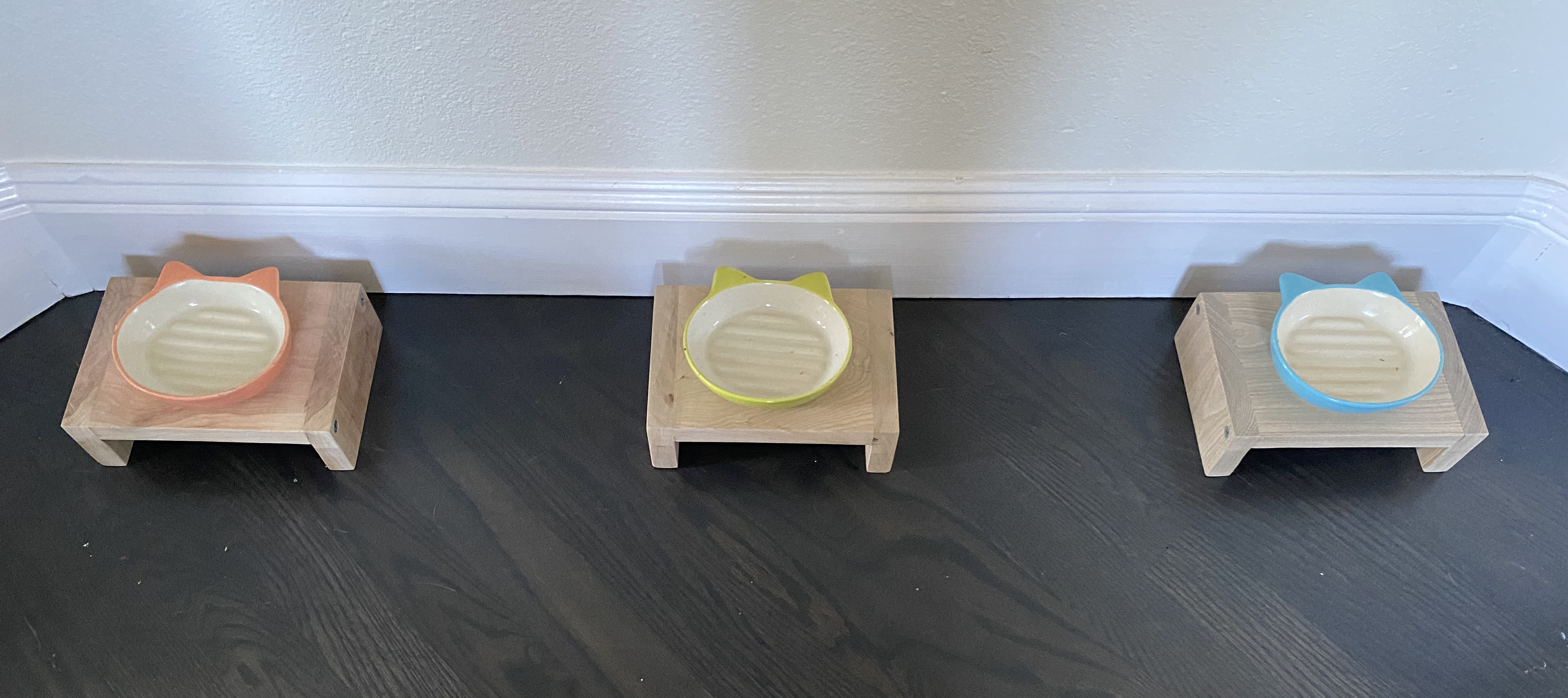 Cat Food Table Made From Wood